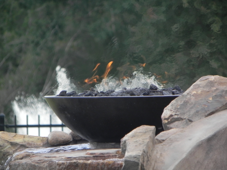 Fire bowls pool design photo gallery cypress - Pool fire bowls ...