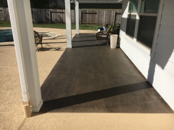 Wood Floor Look Stamped Concrete Overlay and Spray Deck