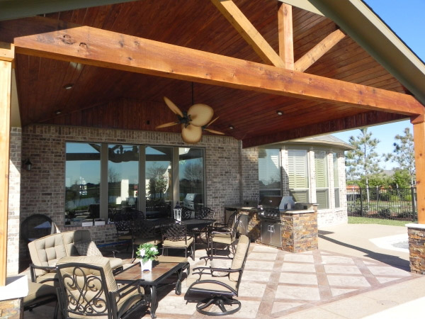 Outdoor kitchens cypress custom outdoor spaces cypress for Covered outdoor kitchen plans
